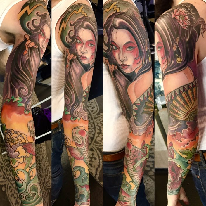 St Pete Tattoo Geisha and Koi Sleeve by J Michael Taylor