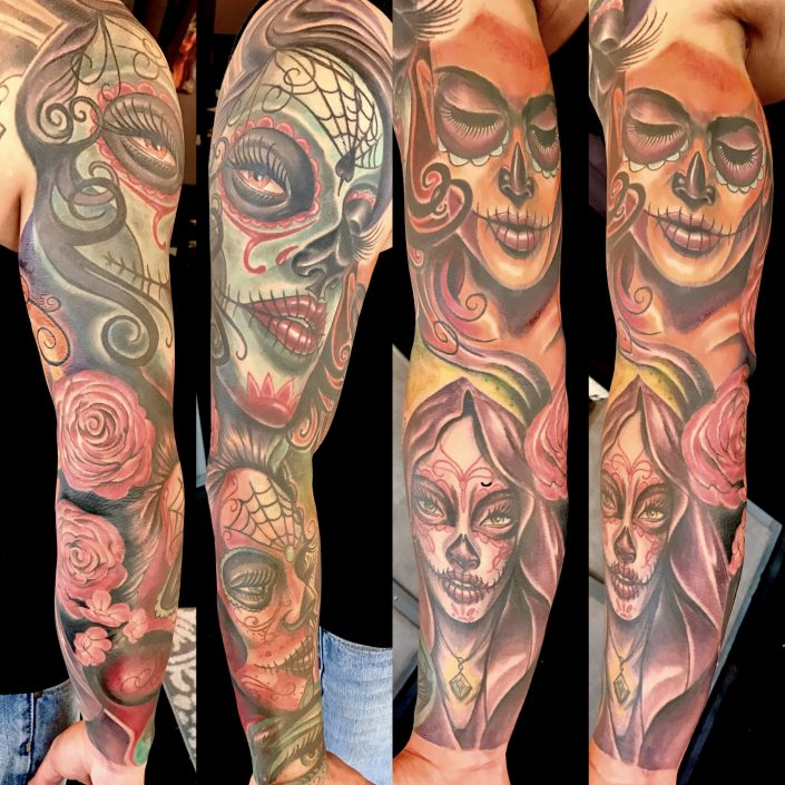 St Pete Tattoo J Michael Taylor Day of the Dead Women Sleeve