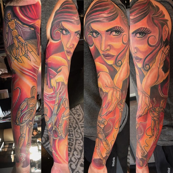 St Pete Tattoo Puppet Marionette Sleeve by J Michael Taylor