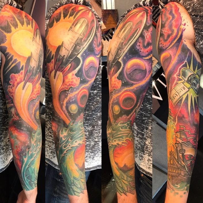 St Pete Tattoo Space Rocketship Sleeve by J Michael Taylor