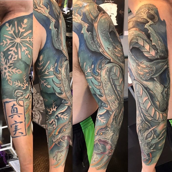 St Pete Tattoo Ice Dragon Sleeve by J Michael Taylor