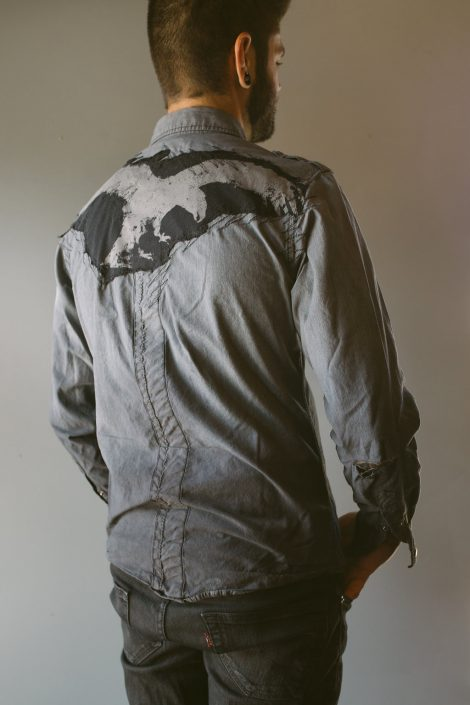 Multimedia Eagle on Back of Grey Long-sleeve by Joanna Coblentz