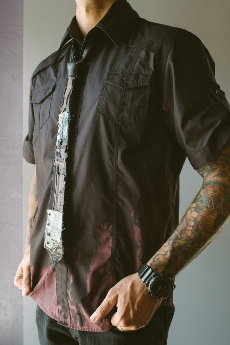 Multimedia Tie on Black Button-down Shirt with Red Dye by Joanna Coblentz