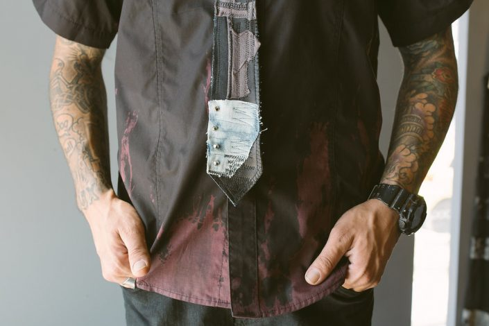 St Pete Tattoo Black and Blue Multimedia Tie by Joanna Coblentz