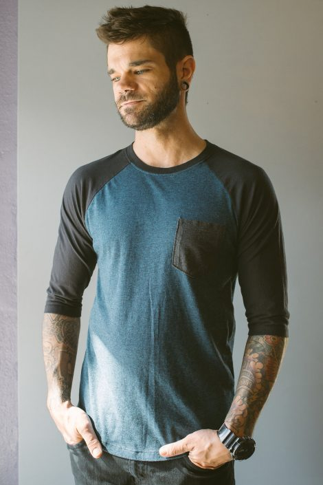 St Pete Tattoo Black and Blue Baseball Tee by Joanna Coblentz