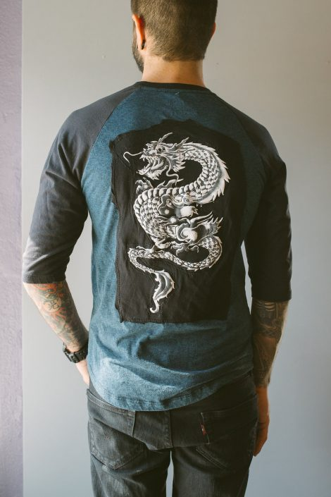 St Pete Tattoo Black and Blue Baseball Tee with Dragon by Joanna Coblentz
