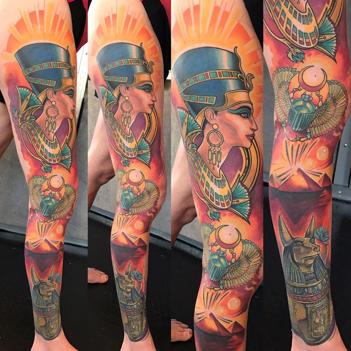 St Pete Tattoo Egyptian Sleeve by J Michael Taylor
