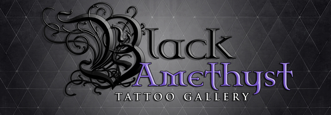 St Pete Tattoo Black Amethyst Tattoo Gallery Presentation Flyer with contact info