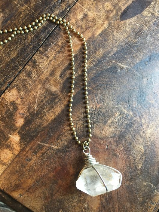 Ball Chain Necklace with Clear Gemstone by Joanna Coblentz