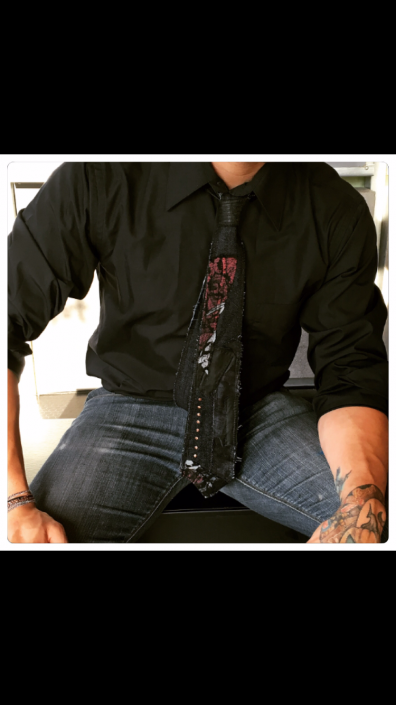 Black and Red Multimedia Tie on Black Button-down Shirt by Joanna Coblentz