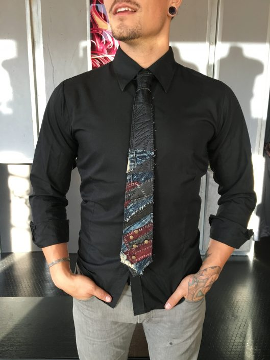 Black, Red, and Blue Multimedia Tie on Black Button-down Shirt by Joanna Coblentz