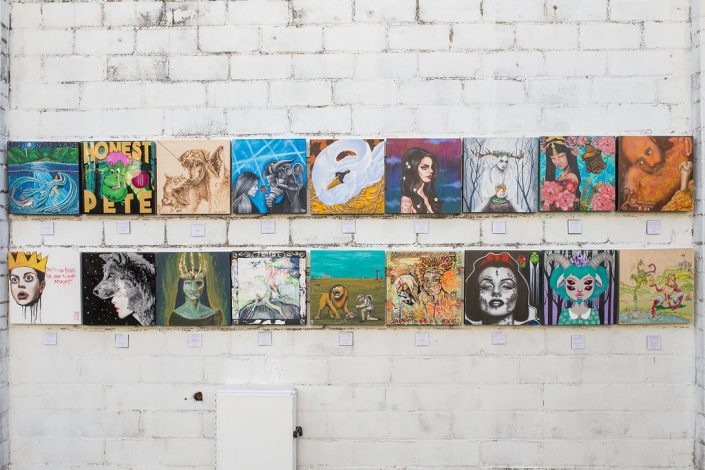 First Set of Eighteen Paintings at Black Amethyst Tattoo Gallery Art Show