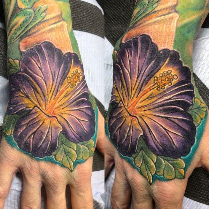 St Pete Tattoo Purple Hibiscus Flower Tattoo