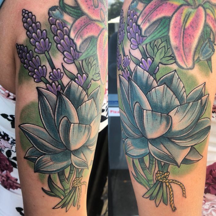 St Pete Tattoo Blue Lotus and Lavender Flowers Tattoo