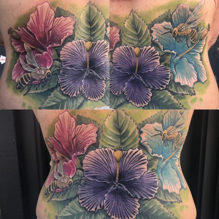 St Pete Tattoo Hibiscus Flowers with Bees