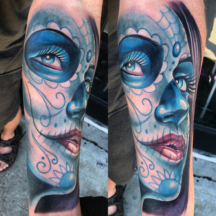 St Pete Tattoo Blue Day of the Dead Woman by J Michael Taylor