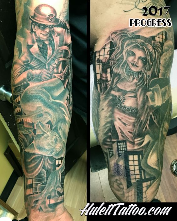 St Pete Tattoo Batman Sleeve Tattoo by Jeremy Hulett