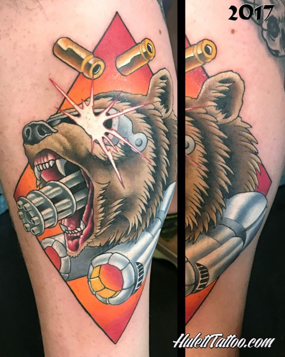 St Pete Tattoo Blind Machine Gun Bear Tattoo by Jeremy Hulett