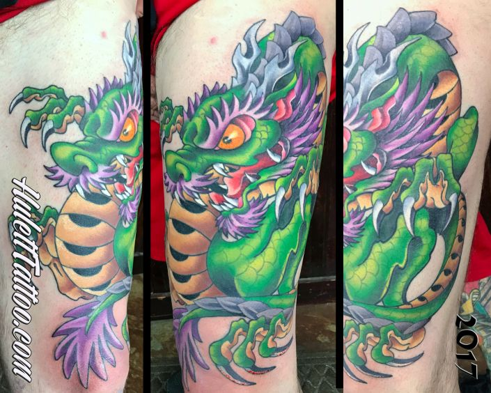 St Pete Tattoo Green and Purple Dragon Tattoo by Jeremy Hulett