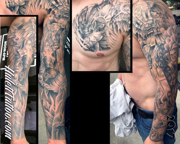 St Pete Tattoo Angel Sleeve Tattoo by Jeremy Hulett