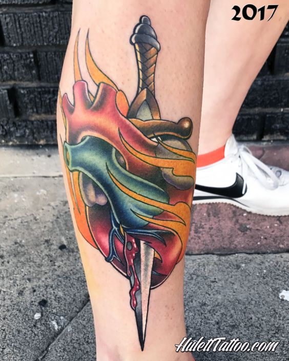 St Pete Tattoo Color Pencil Dagger Heart Tattoo by Jeremy Hulett
