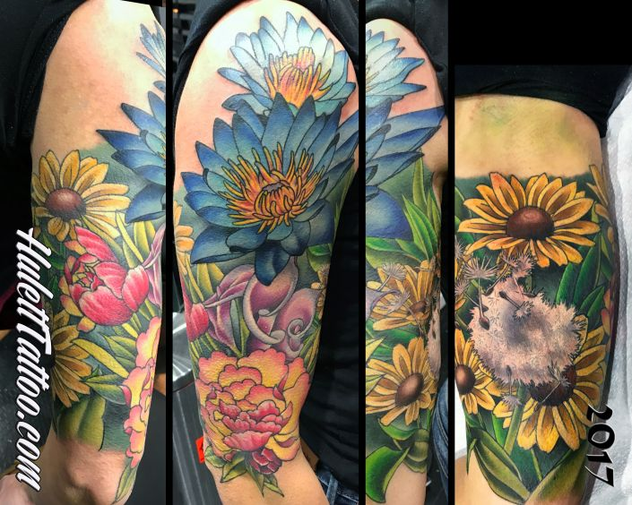 St Pete Tattoo Flower Sleeve Tattoo by Jeremy Hulett