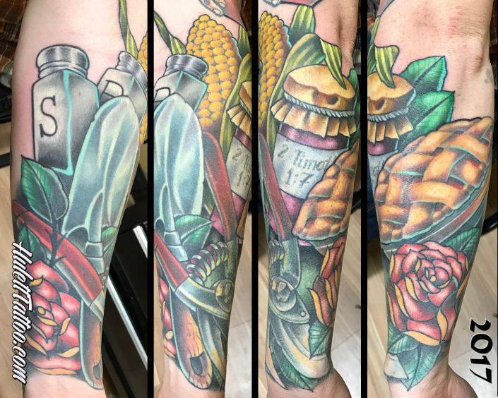St Pete Tattoo Garden and Pie Half Sleeve Tattoo by Jeremy Hulett