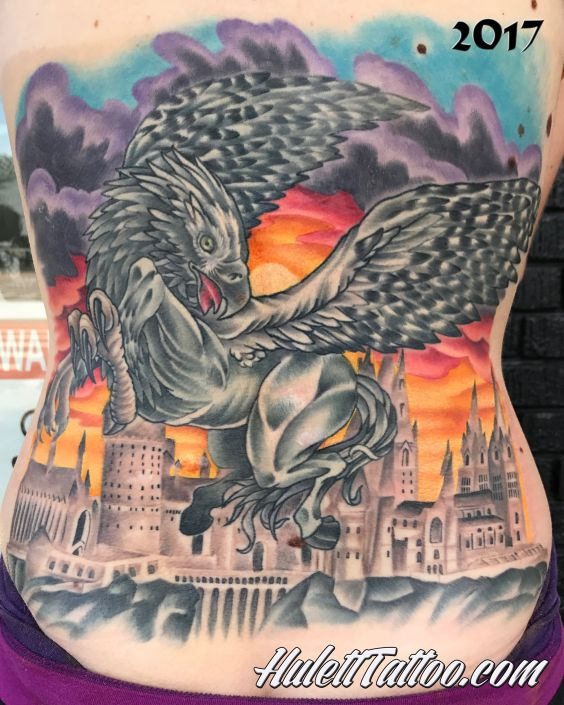 St Pete Tattoo Hippogryph Back Piece by Jeremy Hulett