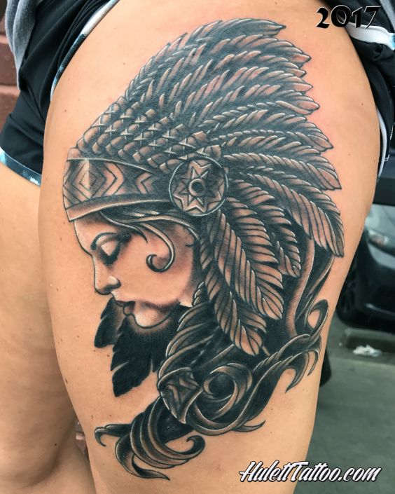 St Pete Tattoo Profile View of Indian Woman by Jeremy Hulett