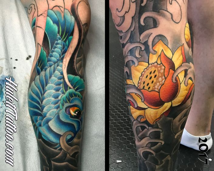 St Pete Tattoo 2017 Koi and Lotus Flower Leg Sleeve Tattoo by Jeremy Hulett
