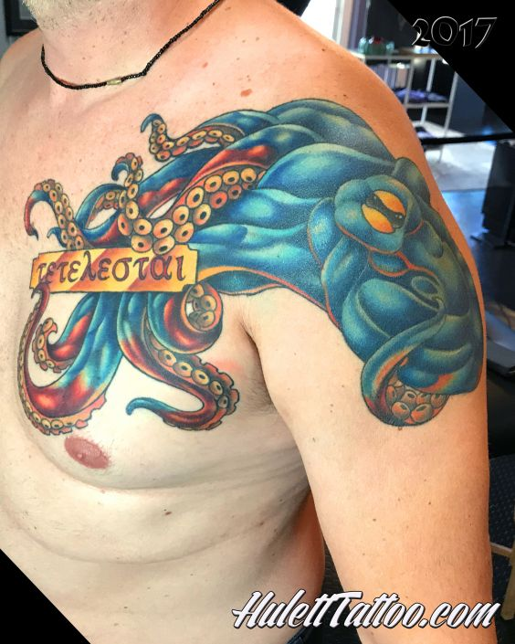 St Pete Tattoo Chest and Shoulder Blue Octopus Tattoo by Jeremy Hulett