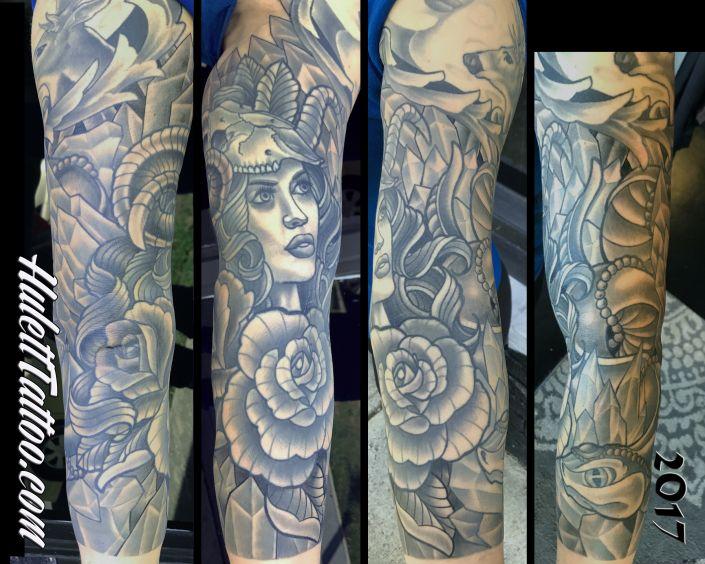 St Pete Tattoo Ram Head Woman Sleeve by Jeremy Hulett