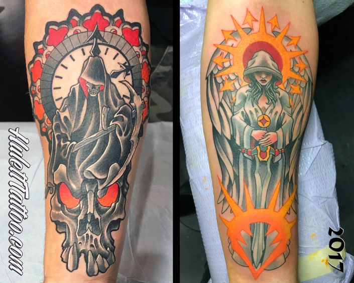St Pete Tattoo Reaper Angel Forearm Tattoos by Jeremy Hulett