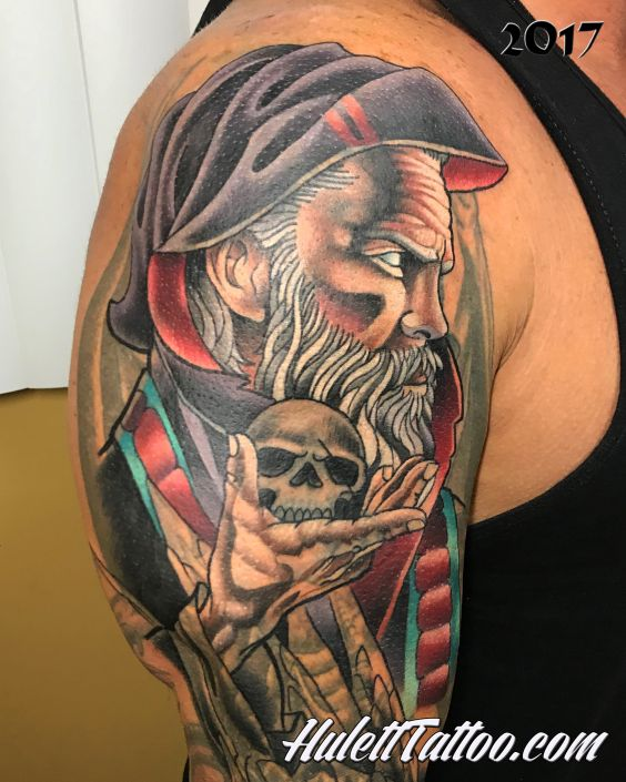 St Pete Tattoo Wizard holding a Skull Sleeve Cover Up by Jeremy Hulett
