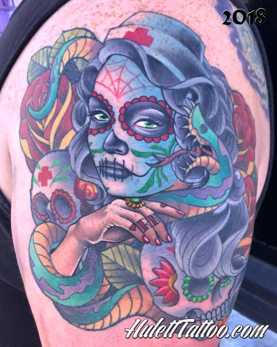 St Pete Tattoo Day of the Dead Nurse by Jeremy Hulett