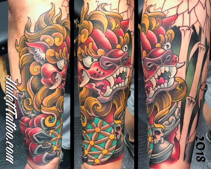 St Pete Tattoo Foo Dog Sleeve by Jeremy Hulett