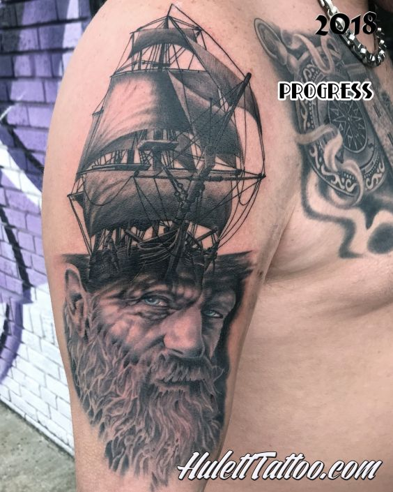 St Pete Tattoo Man and Ship Mash Up by Jeremy Hulett