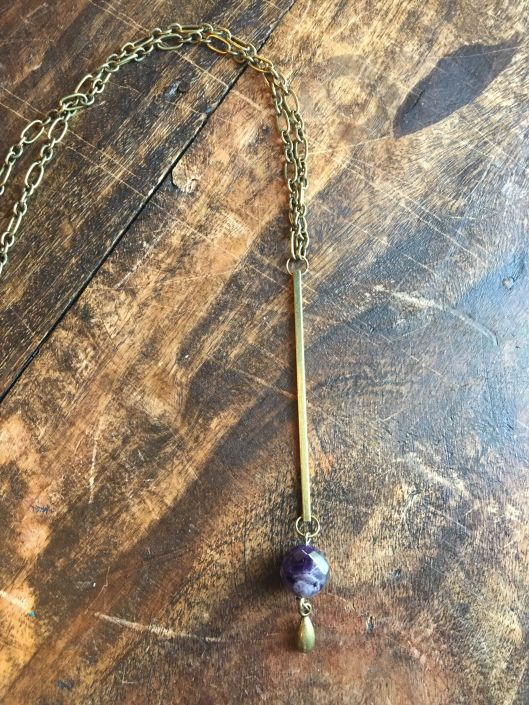 St Pete Tattoo Chain Necklace with Long Bar Sphere Jewel and Gold Teardrop