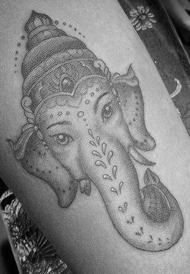 St Pete Tattoo Black and Grey Ganesha by Amanda Banx