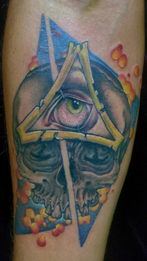 St Pete Tattoo Third Eye Skull by Amanda Banx