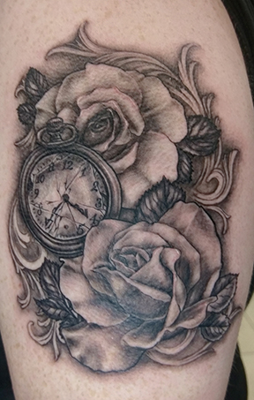 St Pete Tattoo Black and Grey Roses and Pocket Watch by Amanda Banx