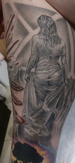 St Pete Tattoo Black and Grey Woman in See Through Dress by Amanda Banx