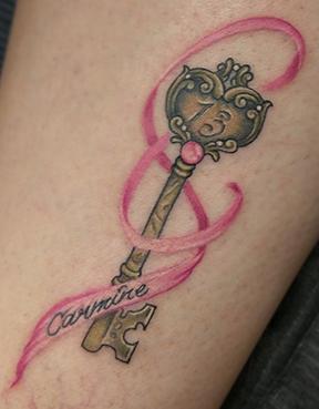 St Pete Tattoo Key and Ribbon by Amanda Banx