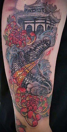 St Pete Tattoo Japanese Koi Lotus and Pagoda Tattoo Sleeve by Amanda Banx