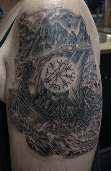 St Pete Tattoo Viking Ship by Amanda Banx
