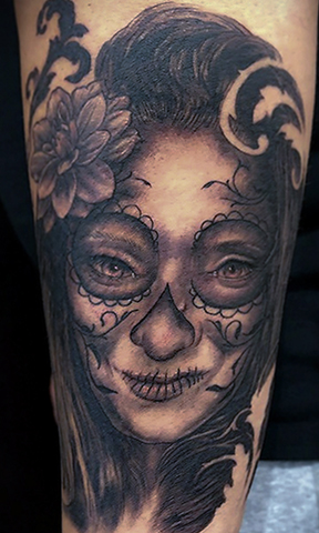 St Pete Tattoo Black and Grey Portrait Day of the Dead Style by Amanda Banx