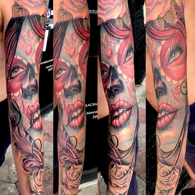St Pete Tattoo Days of the Dead Forearm by J Michael Taylor