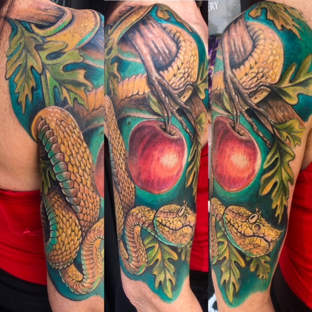 St Pete Tattoo Satan and the Apple by J Michael Taylor