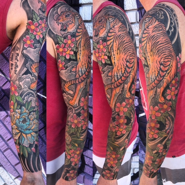 St Pete Tattoo Japanese Tiger and Lotus by J Michael Taylor