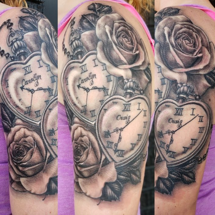 Crolyn and Craig Heart Pocket Watches St Pete Tattoo
